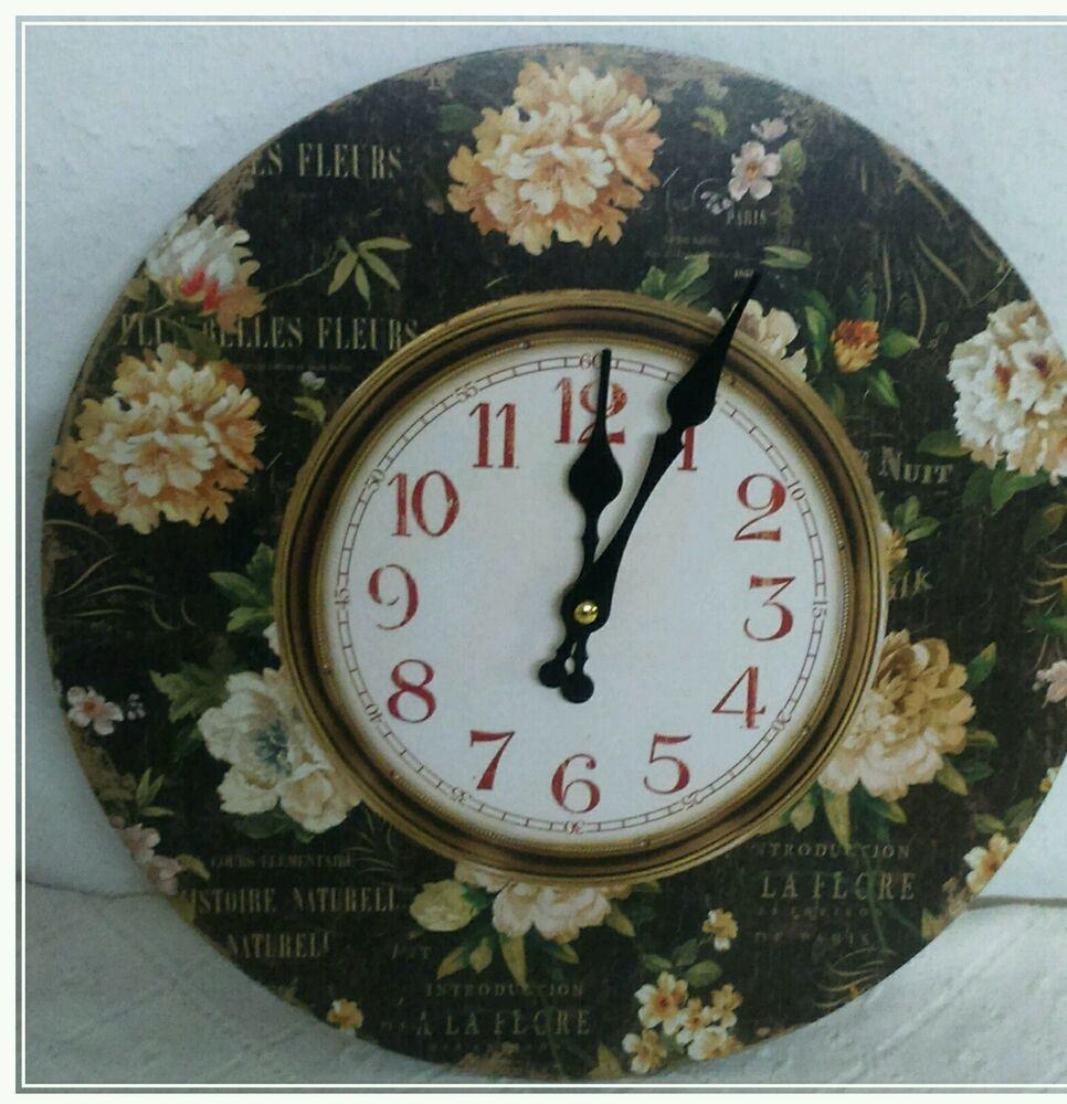 vintage wanduhr nostalgie uhr landhausstil rosen shabby chic neu paris ebay. Black Bedroom Furniture Sets. Home Design Ideas