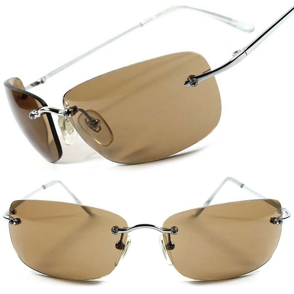 Frameless Glasses Trend : Stylish Fashion Brown Lens Frameless Designer Wrap ...