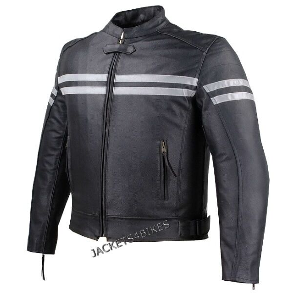 Motorcycle Reflective Leather Jacket Black With Hard Armor