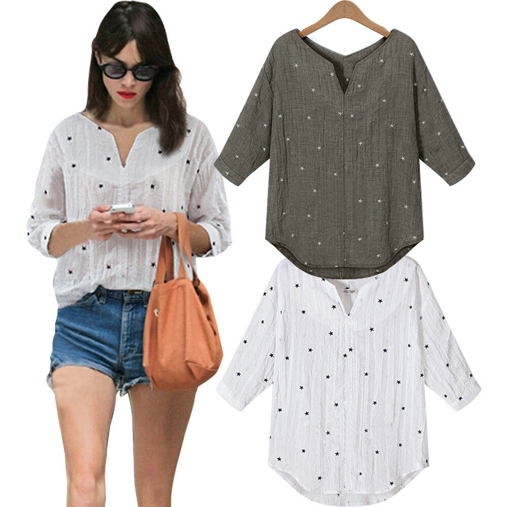 Women 39 s stars v neck cotton loose blouse t shirt tee top for Where to buy casual dress shirts