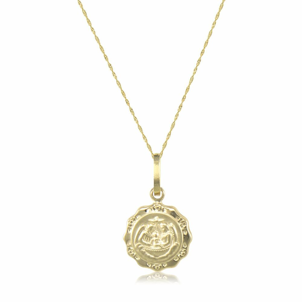 10k solid yellow gold baptism medal necklace pendant for 10k gold jewelry