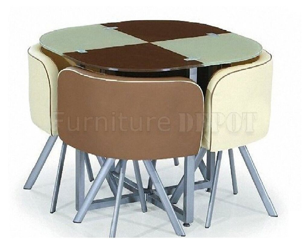 New space saver cream beige brown round glass dining for Round space saving dining table and chairs