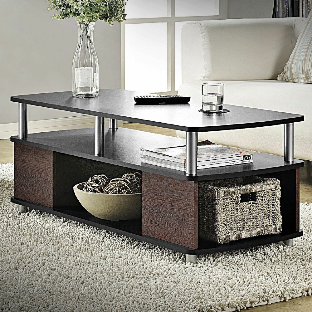 Contemporary coffee table living room furniture storage cherry black end tables ebay Modern coffee and end tables
