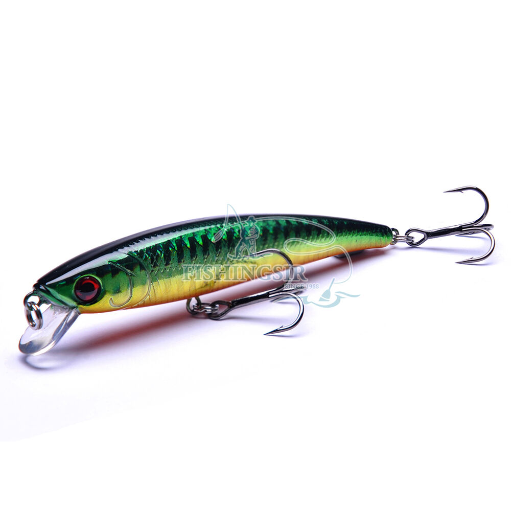 3d eyes hard minnow jerkbaits bass trout fishing lures for Bass fishing lures