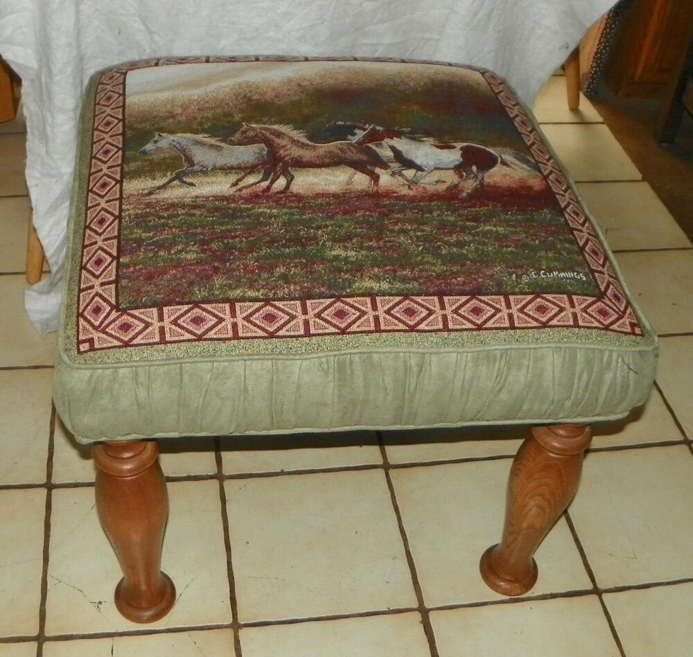 Oak Horse Print Ottoman Coffee Table Bench St88 Ebay