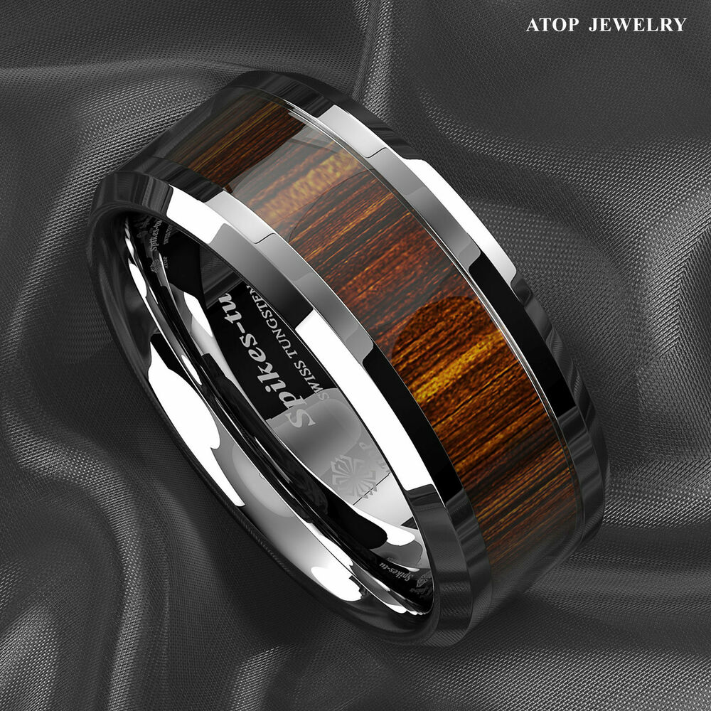 Male Wedding Bands Wood Inlay: 8mm Men's Tungsten Carbide Wood Inlay Beveled Edge Wedding