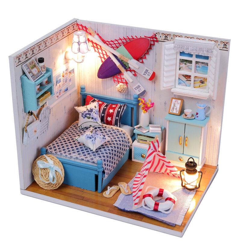 new kits diy wood dollhouse miniature with led furniture. Black Bedroom Furniture Sets. Home Design Ideas