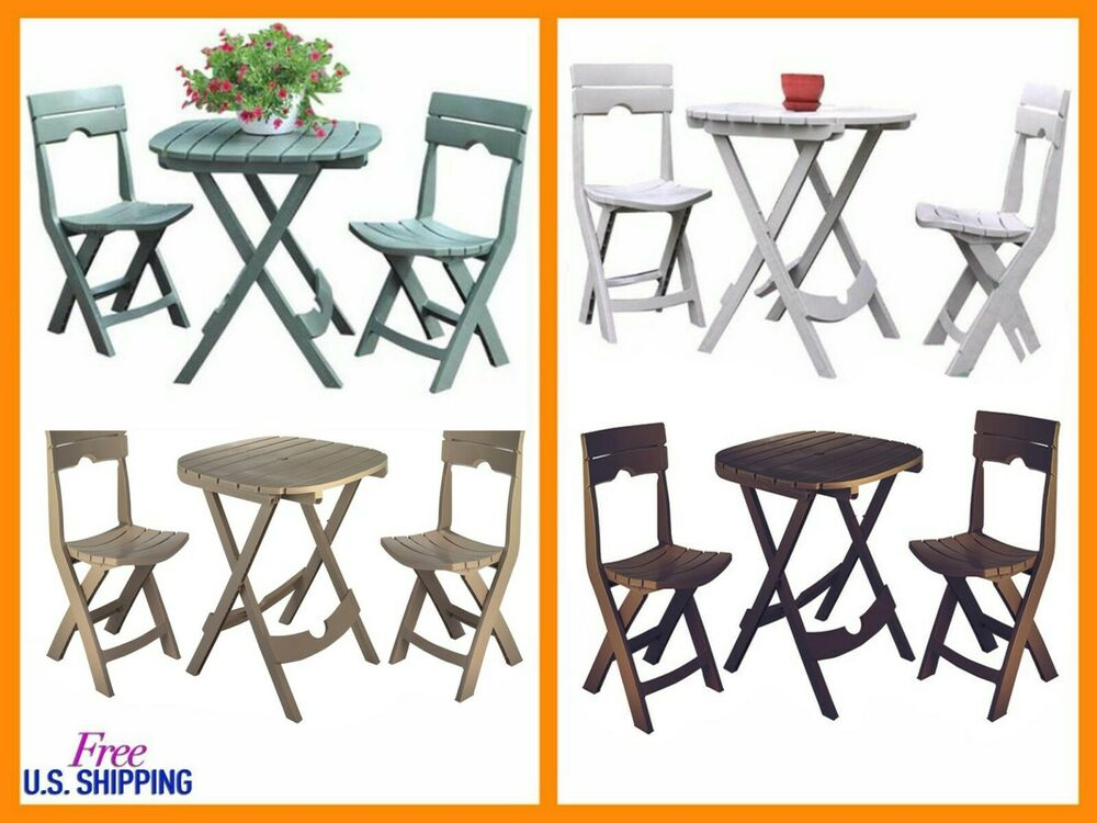 Patio Bistro Set Folding Resin Outdoor Chair Garden Small