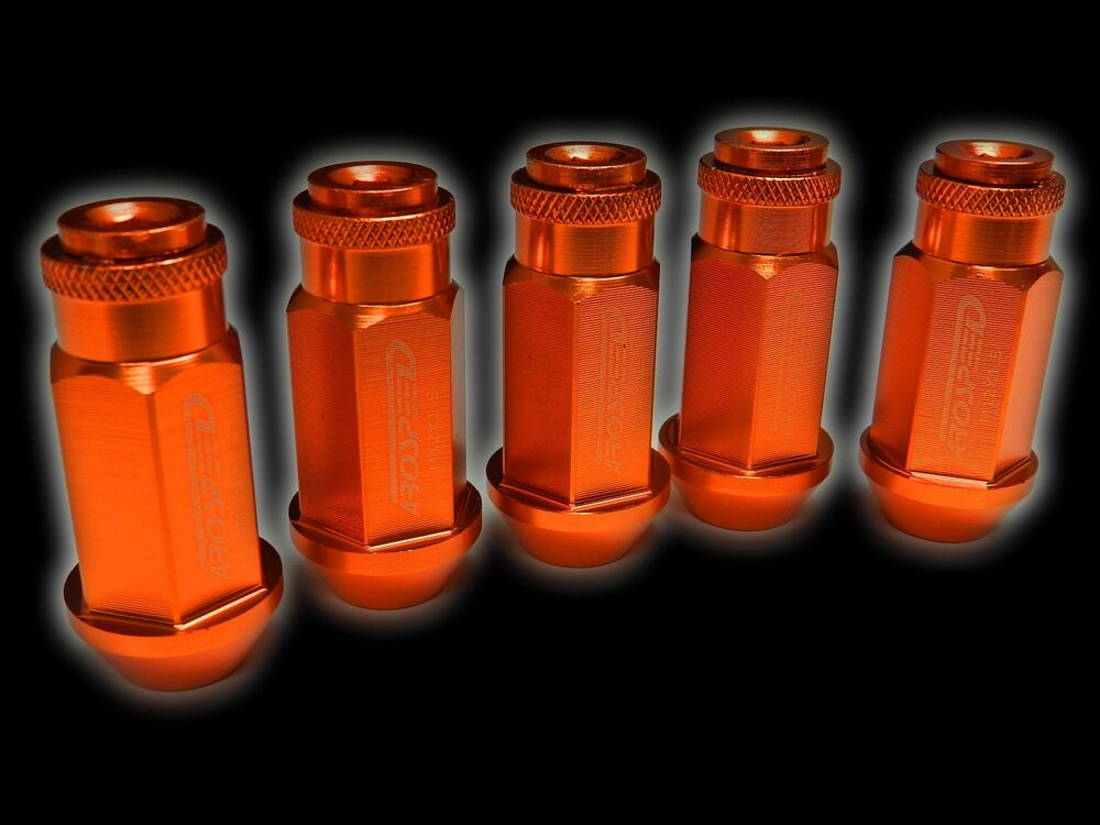 20pc 12x1 25mm 50mm extended aluminum racing capped lug nuts orange