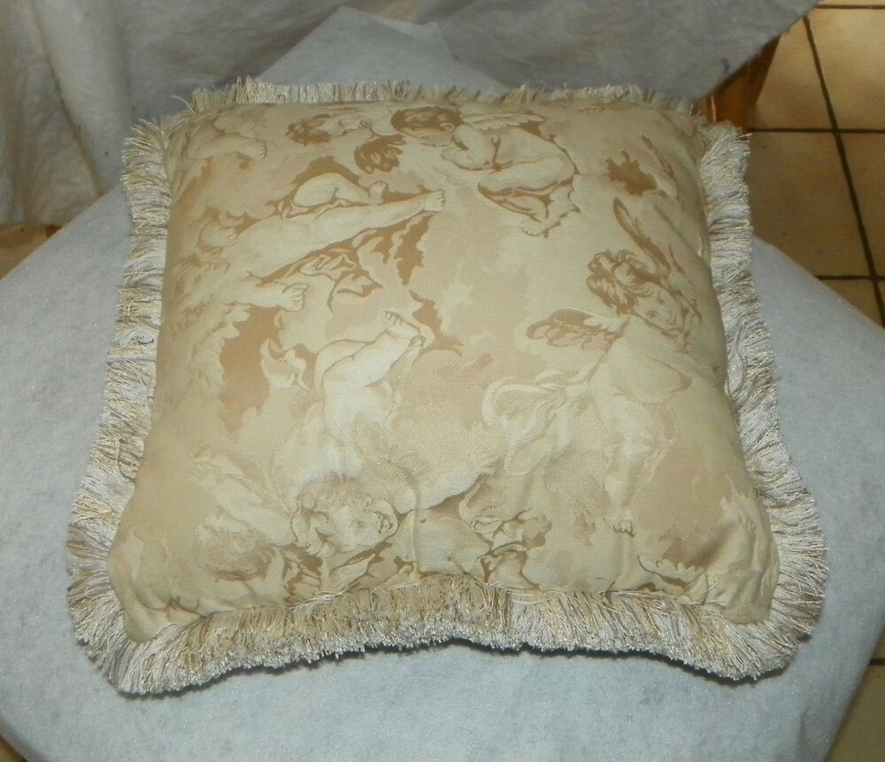 Off White Cherub Print Decorative Throw Pillow 17 x 17 eBay