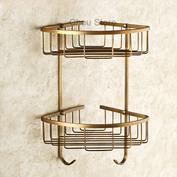 Wall mount corner shower shelf gel basket home bathroom - Bathroom storage baskets shelves ...