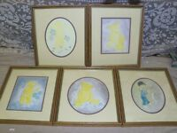 Picture water colour x5 'Teddy bears' by PARKINSON 24x28cm