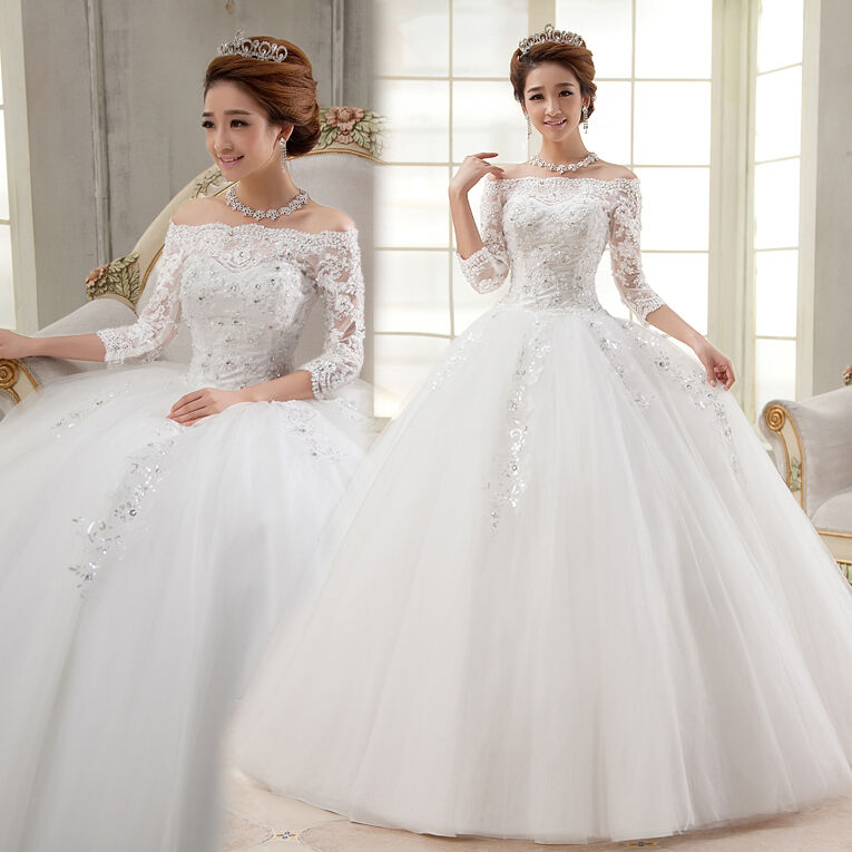 Cheap ivory ball gown 2016 wedding dress bridal gown stock for Ebay wedding dresses size 12