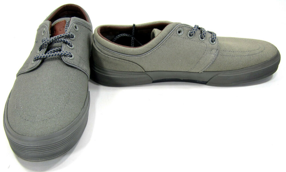 db57d298c Details about Polo Ralph Lauren Shoes Faxon Low Canvas Gray Sneakers Size  8.5