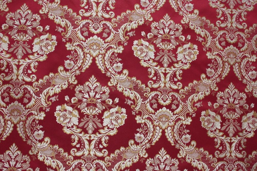 7 yards red floral brocade gold medallion upholstery for Victorian floral fabric