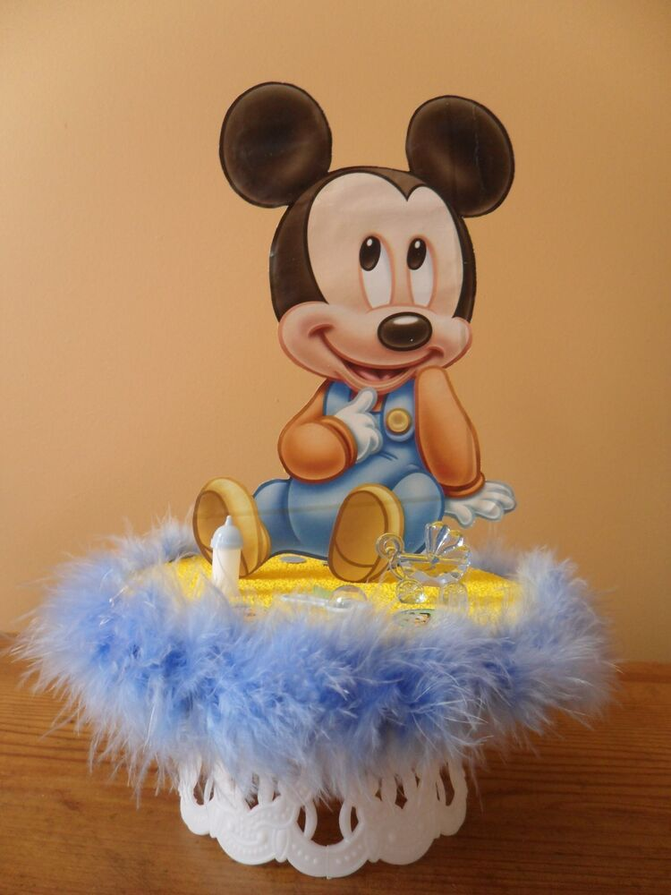 Baby mickey mouse baby shower cake topper or party table for Baby mickey decoration ideas