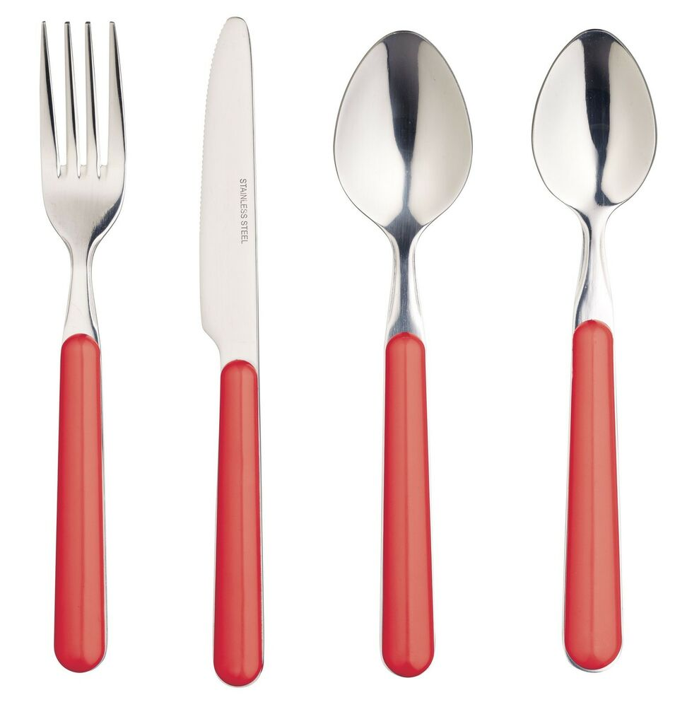 kitchen forks and knives kitchen craft stainless steel cutlery red handle knife fork spoon teaspoon ebay 1024
