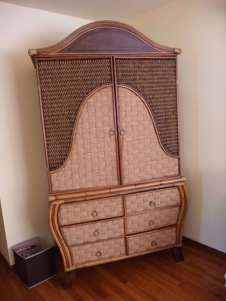 Wood And Wicker Armoire Dresser Ebay