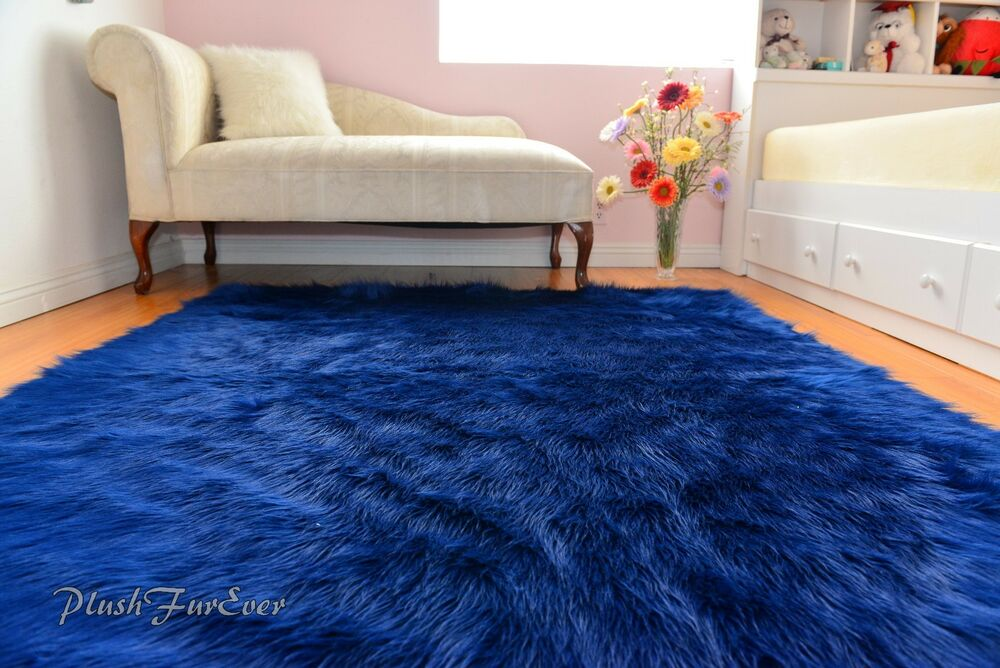 Navy Blue Shaggy Sheepskin Flokati Area Rug Baby Boy