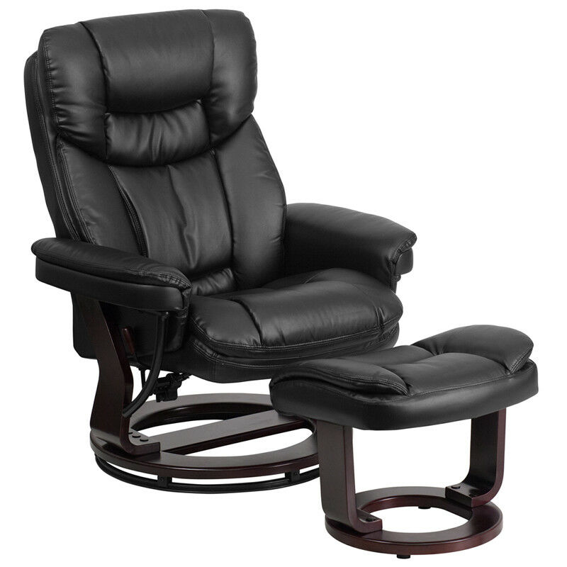 Flash Furniture Black Leather Recliner Amp Ottoman With