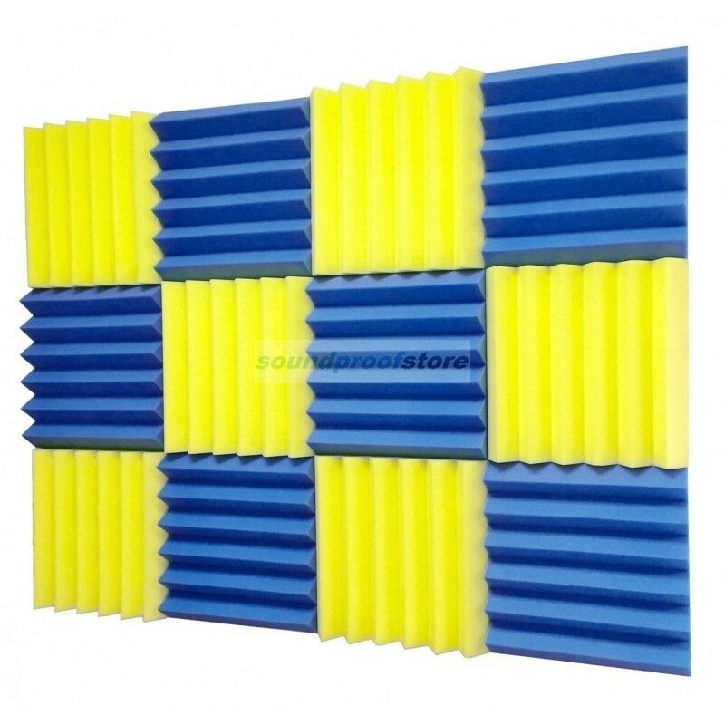 2x12x12 12 pack blue yellow acoustic wedge soundproofing for Soundproof foam