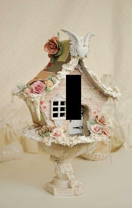 Vintage shabby chic birdhouse light switch plate wall art for Shabby chic wall art