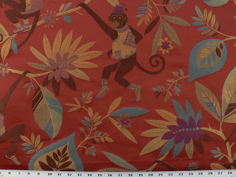 Drapery Upholstery Fabric Monkey Tropical Leaf Design
