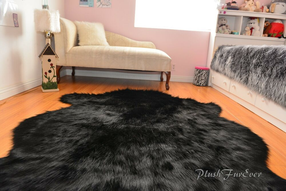 black faux fur rug sheepskin flokati nursery black faux fur area rug 4669