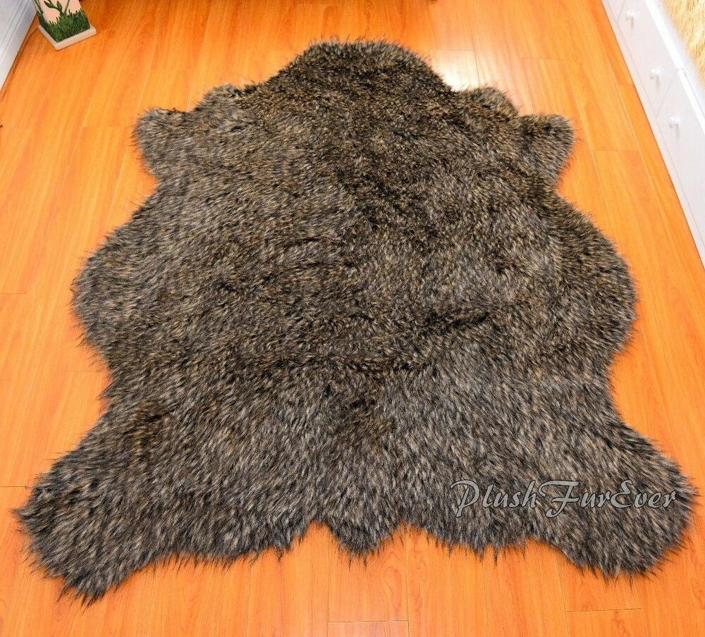 Gray Coyote Exotic Flokati Throws Area Rug Sheepskin