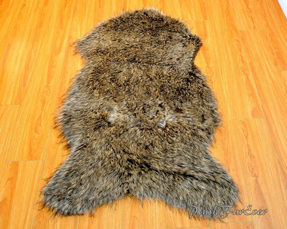 Grizzly bear faux fur rugs sheepskins pelts throws area for Fur rugs