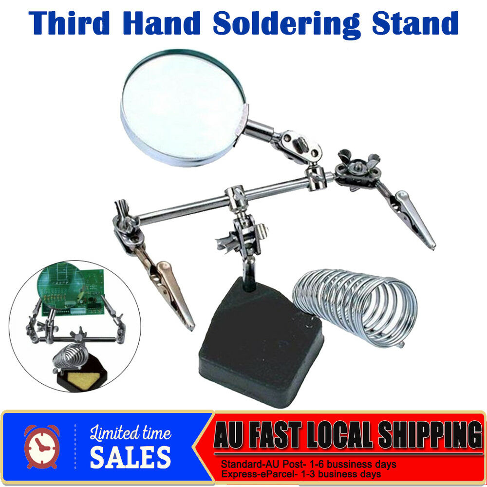 hot third hand soldering solder iron stand helping magnifying tool magnifier au ebay. Black Bedroom Furniture Sets. Home Design Ideas