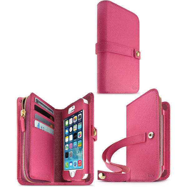 iphone 5 wallet cases iluv ai5jstrpn jstyle runway grain leather for 3072