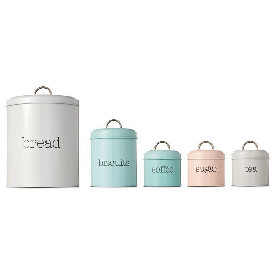 5 round stainless steel canister tea coffee sugar biscuits bread tin canisters ebay - Modern tea and coffee canisters ...