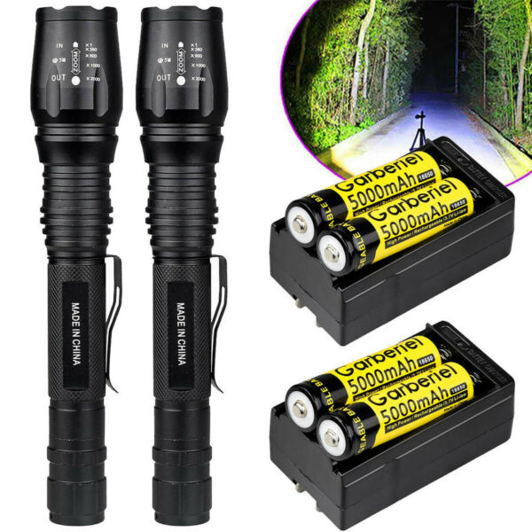 Tactical 90000Lumens T6 5Modes LED Zoom Focus Flashlight Aluminum Torch+Battery