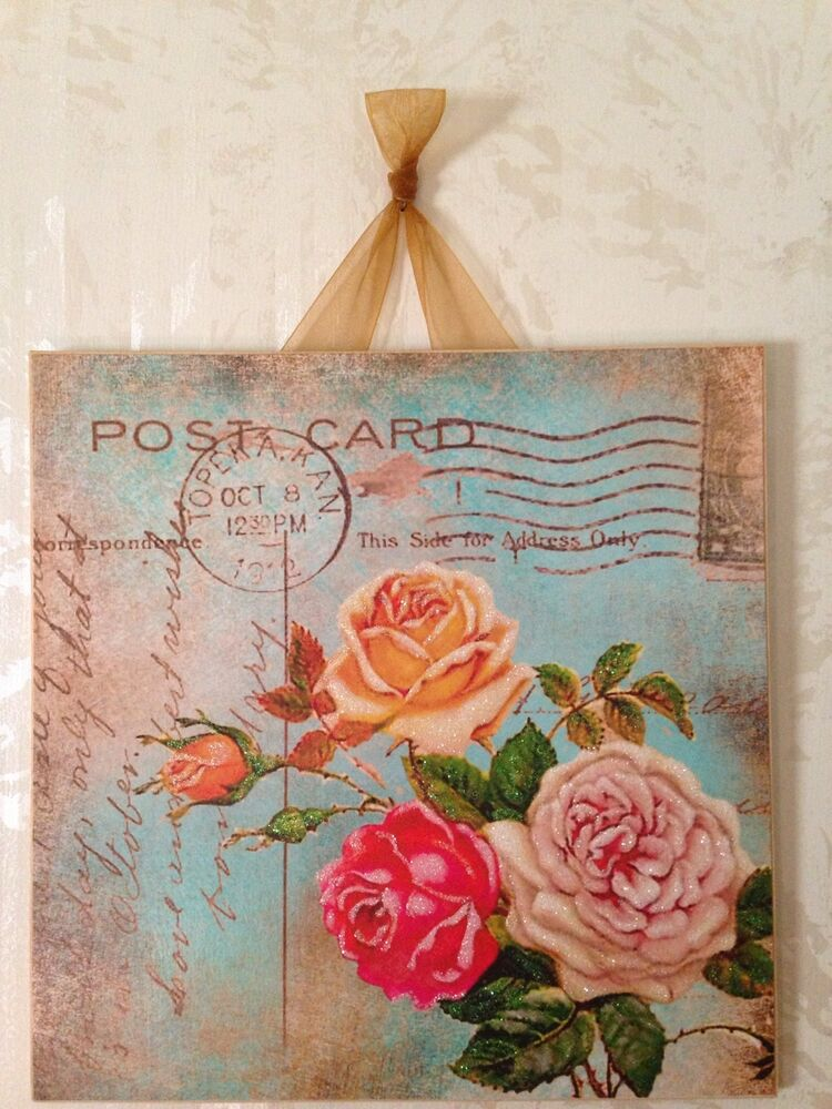 Vintage chic wall decor : Vintage shabby roses blue postcard wall decor sign plaque