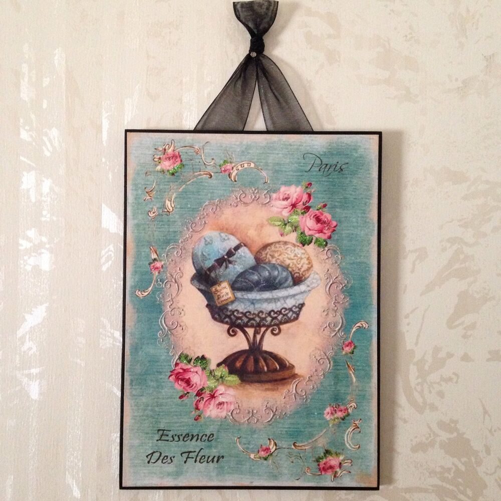New Paris Plaque Wall Decor French Country Cottage Shabby