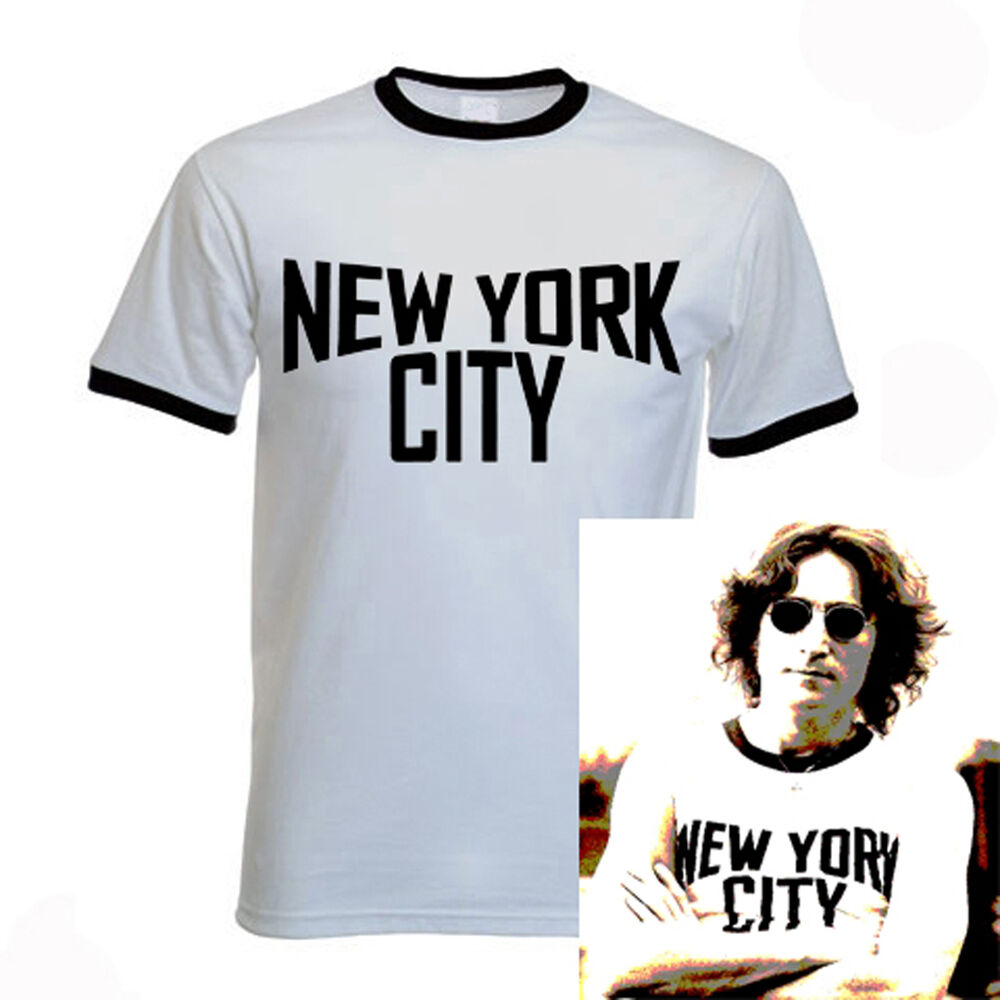 John Lennon Ringer Black And White New York City T Shirt
