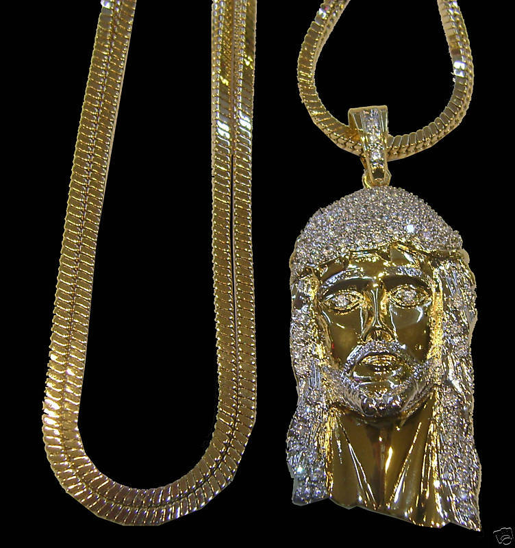 Men S New 14k Gold Plated Franco Chain Amp Jesus Face Combo