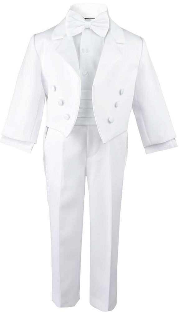 White Formal Boy Tuxedo Kids Dress Suit Set Tuxedo With