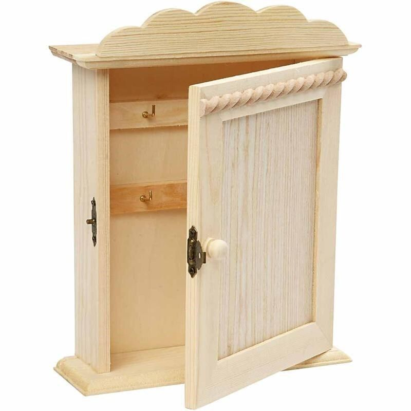 Pine wood key cabinet wc storage box paint stain wall