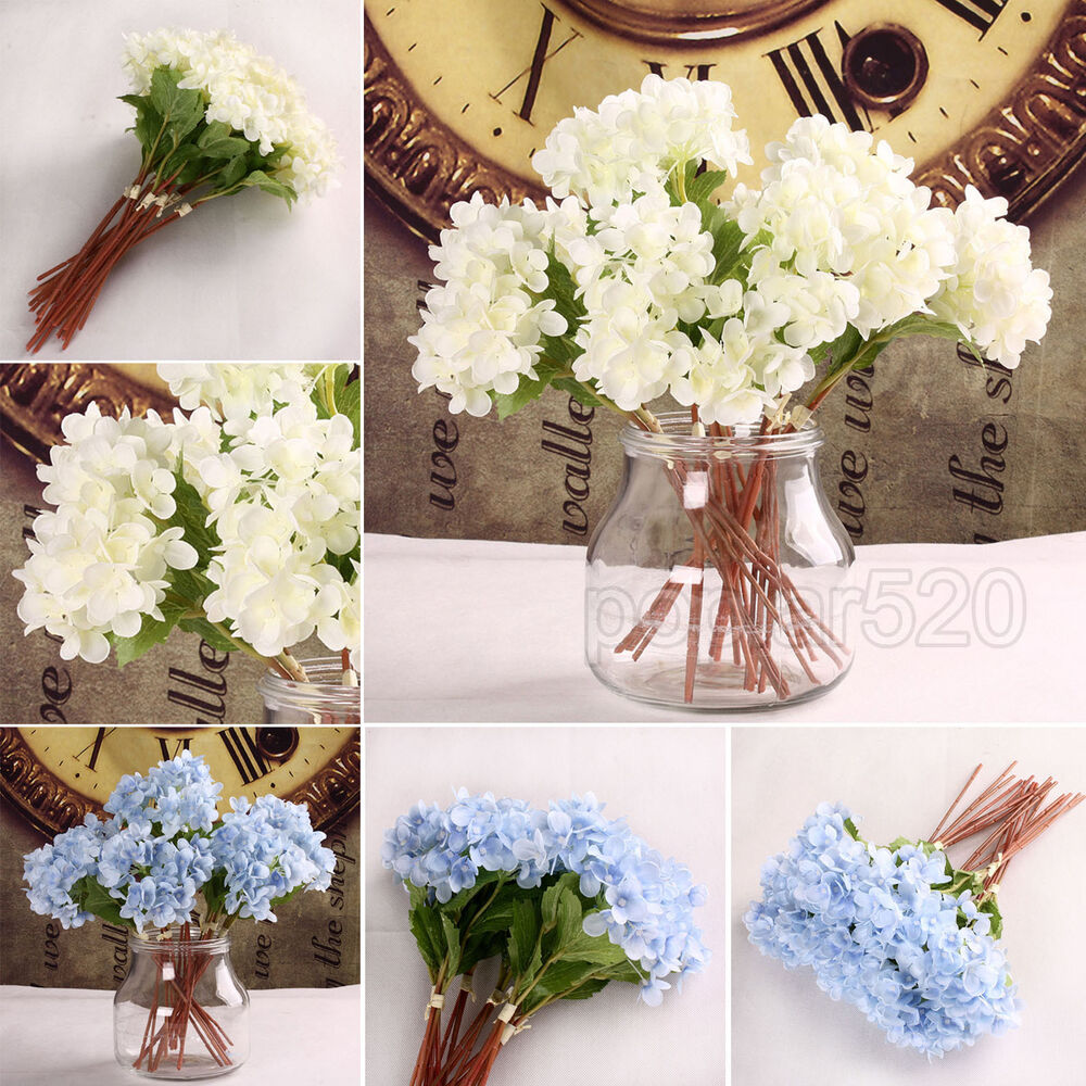 Hydrangea silk flowers artificial home party wedding for Artificial flowers for home decoration online