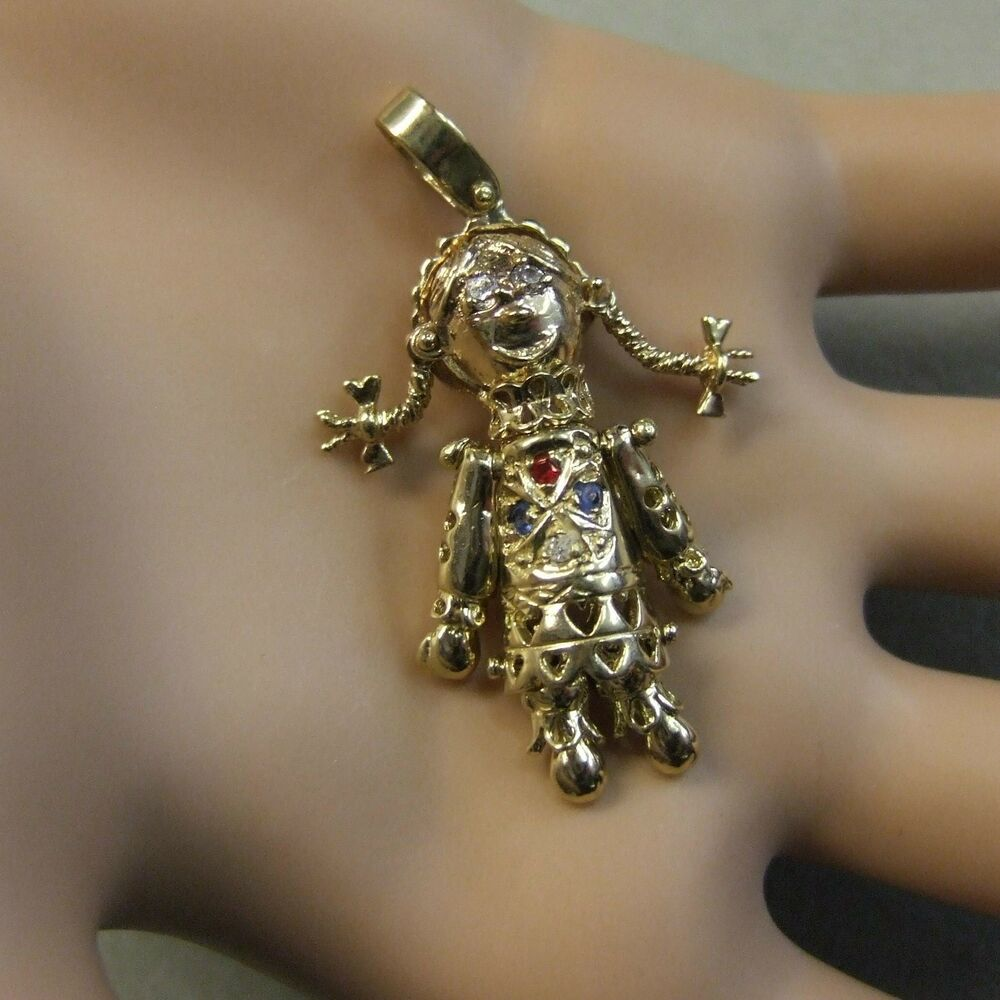 9 ct gold second set moveable rag doll pendant