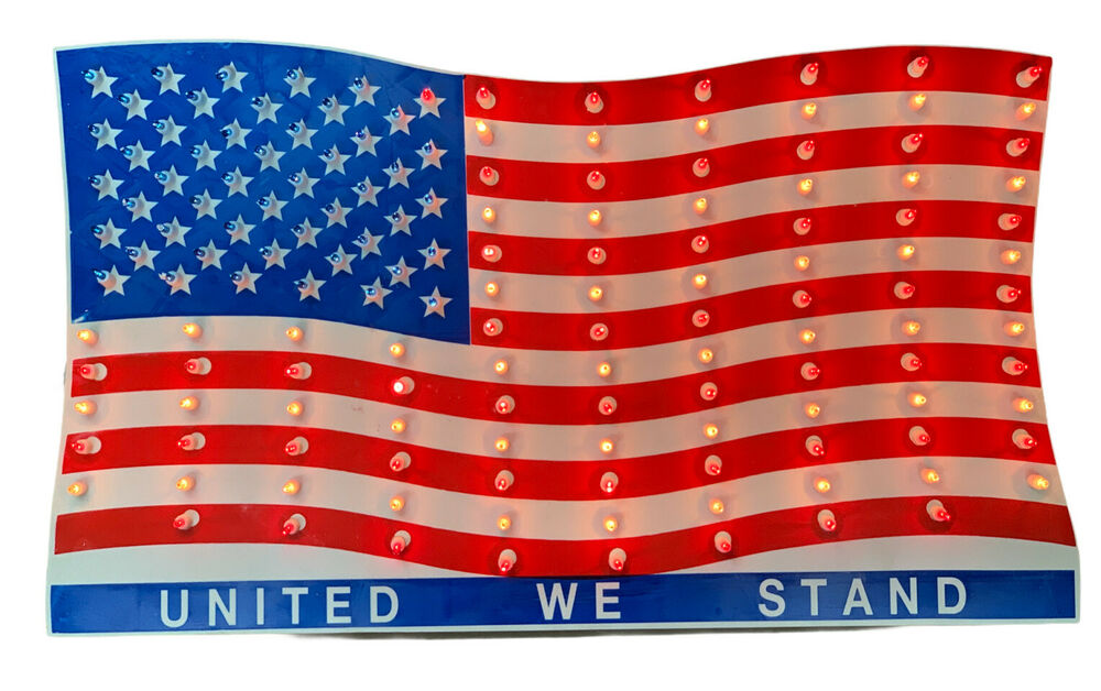 Large Usa American Flag Light Set Sign 28 Quot X 16 Quot 150 Red