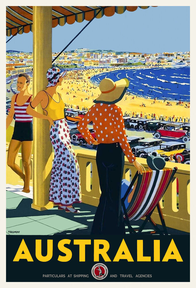 vintage art deco travel poster australia bondi beach. Black Bedroom Furniture Sets. Home Design Ideas