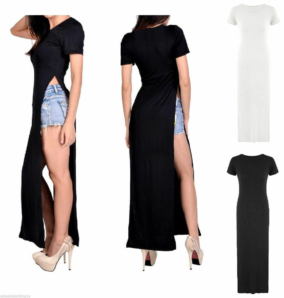 women ladies side slit casual sexy stylish maxi long split