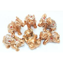 Kyпить Set of 6 Gold Lucky Elephants Statues Feng Shui Figurine Home Decor Gift на еВаy.соm