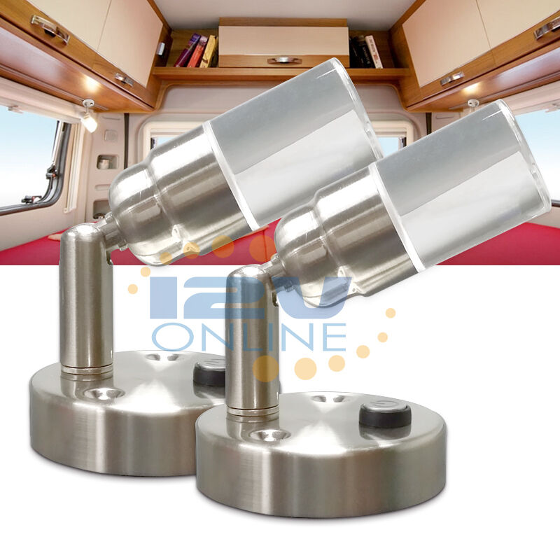 2 12volt Led Crystal Swivel Book Reading Light Rv Camper Trailer Bedside Lamp Ww Ebay