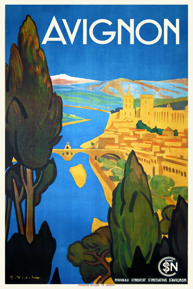 Sur Le Pont D Avignon Art Deco 1930s French Travel Poster