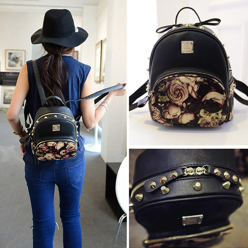 Women Cute Faux Leather Floral Mini Small Backpack Rucksack Purse ...