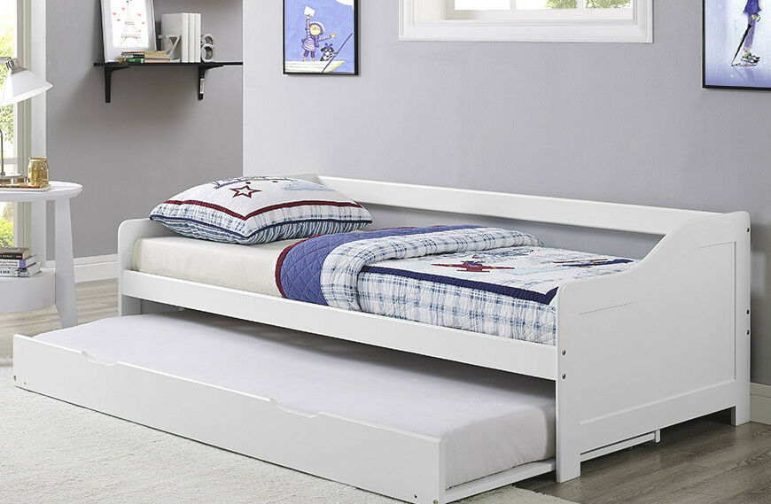 3ft single bed day bed white frame wooden with trundle solid wood daybed pullout ebay. Black Bedroom Furniture Sets. Home Design Ideas